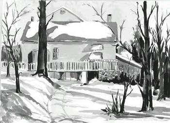 House with Porch in Snow