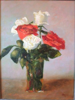 Five Red and White Roses