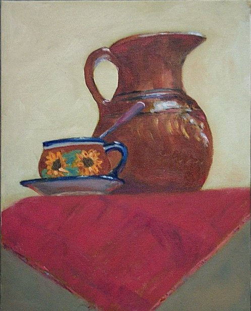 Monumental Mexican Pitcher and Cup