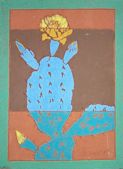 Prickly Pear Cactus (Fired Ceramic Tile)