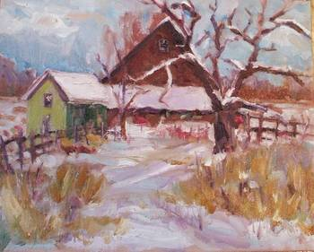 Winter Farm and Oak