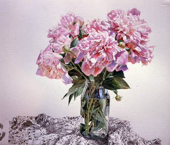 Peonies in Vase on Lace