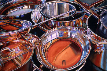Copper Pots with Artist Reflected