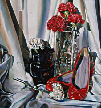 Red and Black Still Life on w/ Five Carnations