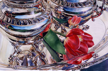 Silver Still Life with Tulip Reflected