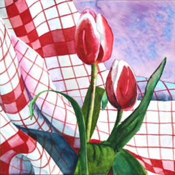 Red Tulips and Red Checks