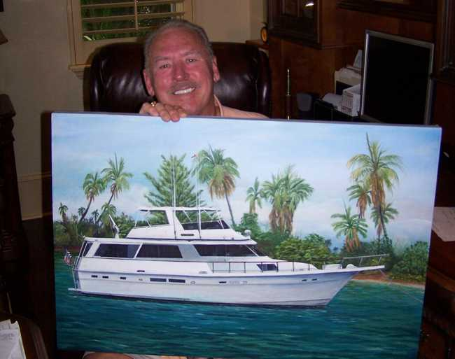A happy Ted with his boat Portrait