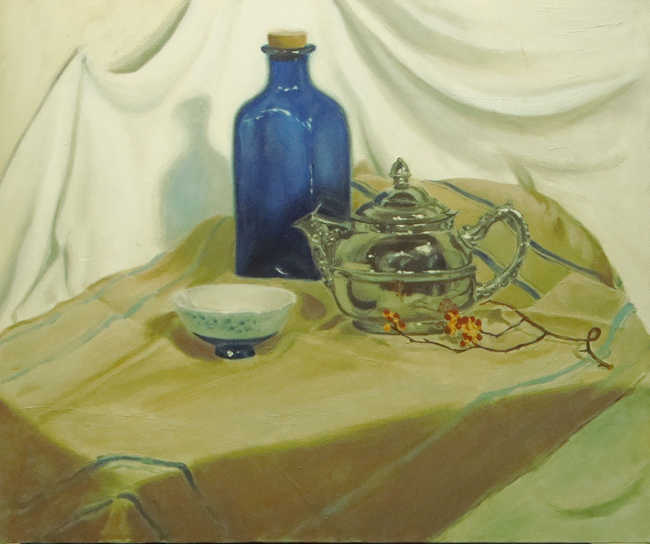 Silver Teapot with Blue Bottle