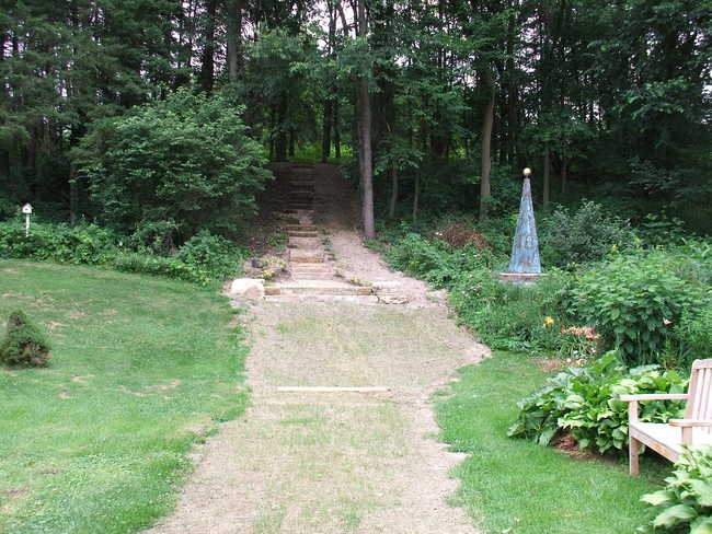 29-Step Waupun Limestone Stairway Up into Spruces