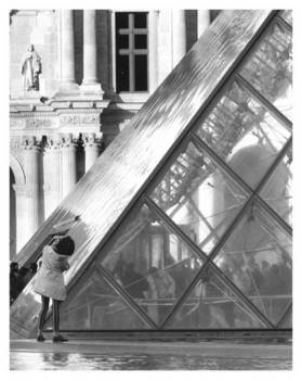 Girl outside Louvre, Paris