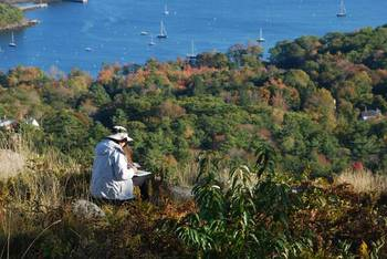 Artists look down at Camden, Maine Harbor