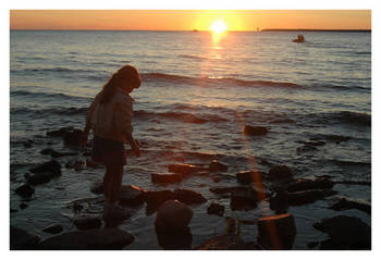 Girl w/ sunset, Fish Creek, Door County