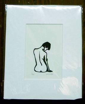 Back Seated Nude, Screan print, 8x10 matted