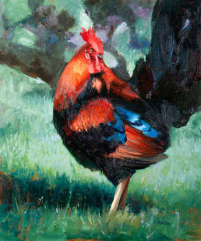 Blue and Orange Rooster