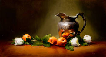 Peaches and Silver Vase