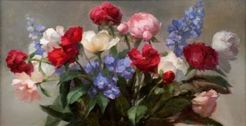 Peonies and Delphinium