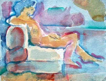 Woman seated on Bolster