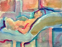 Woman Reclining on Bolster