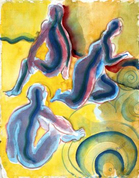 Three Figures in Yellow