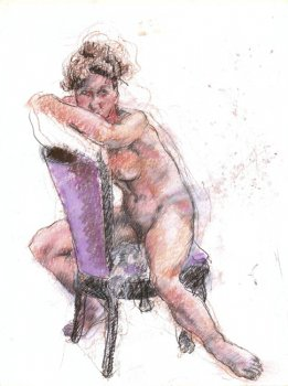 Womany Leaning on Back of Chair