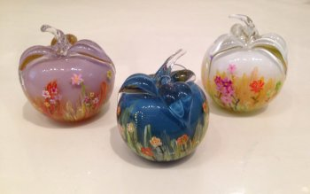 Painted Glass Apples