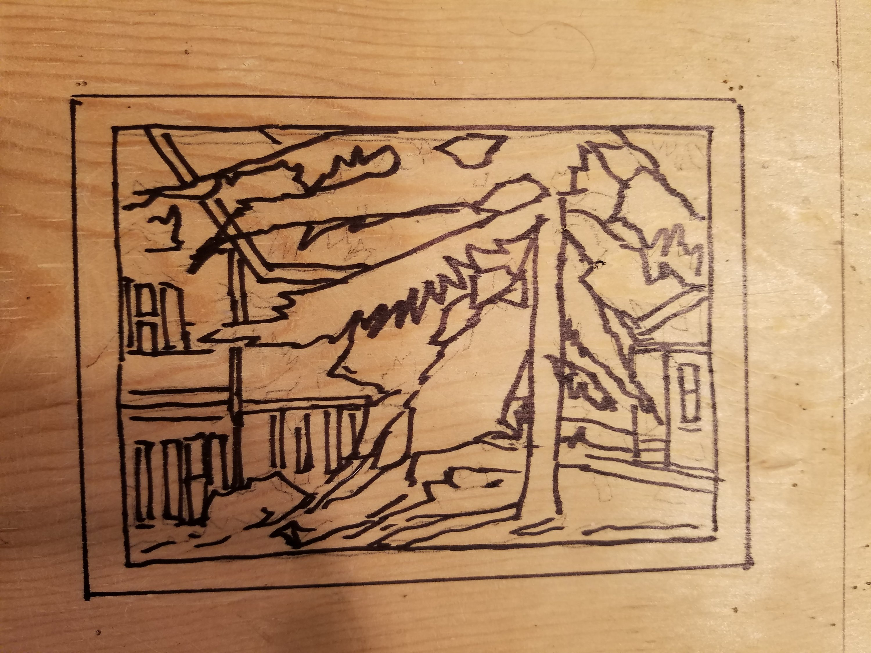 Preliminary Drawing for Woodcut