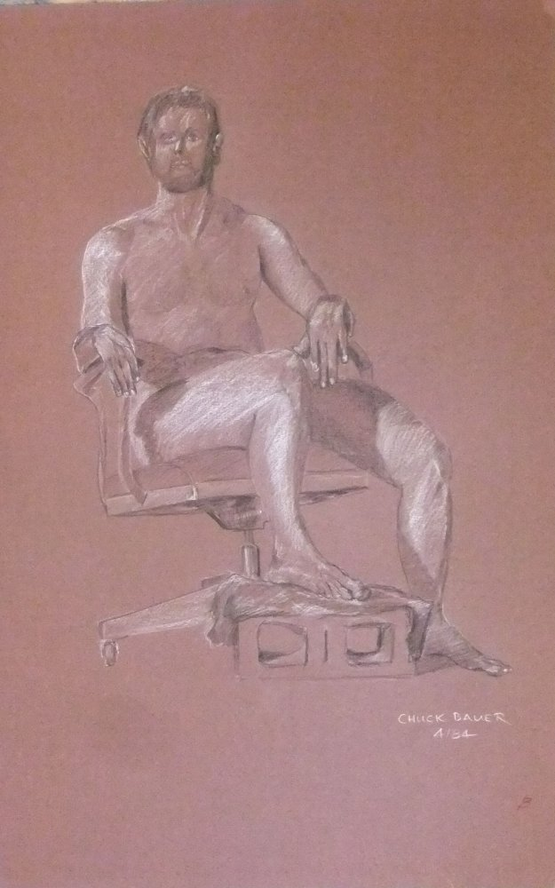 Male Nude of Office Chair with Block
