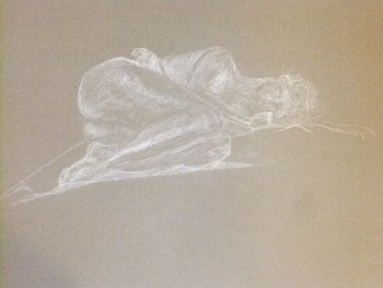 Reclining Female Curled Position Lifedrawing