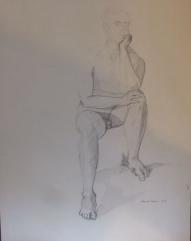 Seated Male Nude (Thinker) Lifedrawing