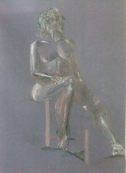 Seated Female Nude Lifedrawing (enhanced drawing)