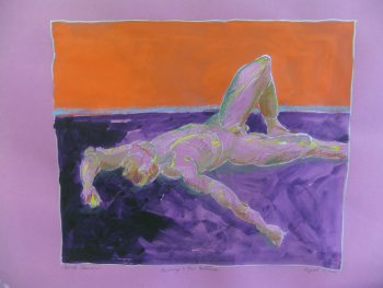 Reclining Male Nude in Mixed Media