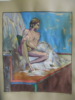 Seated Male Nude in Mixed Media