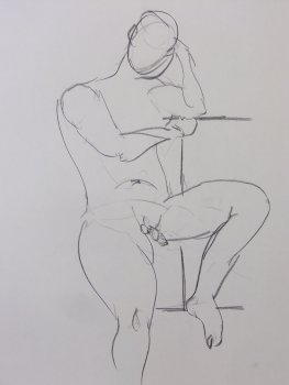 Seated Male Nude Gesture Lifedrawing