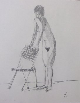 Standing Female Nude with Chair Lifedrawing