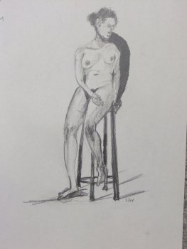 Seated Female Nude with Stool Lifedrawing