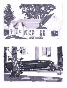 Two Value Studies. View to Lake and East Side Houses