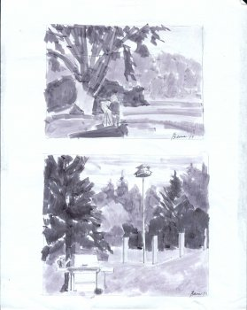 Two Value Studies, Plein Air Painter at Work, and B.B.Q. Set and Birdhouse
